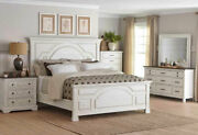 Traditional Farmhouse Style White And Brown 5 Piece Bedroom Set W. Queen Bed Ia74