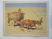 Oxcart Serigraph By Edward Horace Nicholson Signed In Pencil Ox Cart
