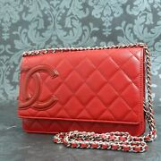 Matelasse Cambon Line Lamb Skin Leather Red Chain Wallet 2134 Rise-on