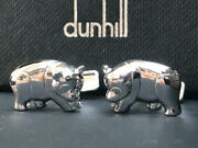 Dunhill Mens Cufflinks Accessory Panda Silver 925 Pre-owned Lost Box