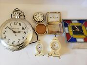 Vintage Lot Of 5 Clocks And A Thermometer Westclox Elgin Etc. For Parts/repair