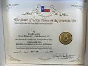 American Flag With Certificate Texas House Of Representatives