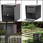 Architectural Mailboxes Oasis Classic Locking Post Mount Parcel Mailbox Black