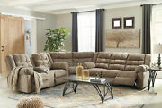 New Living Family Room Sectional Light Brown Fabric Reclining Sofa Couch Set F18
