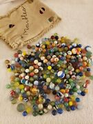 Large Vintage Antique Lot Of Glass Toy Marbles With Cloth Bag Approx. 5 Pounds