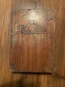 Vintage Cedar Holy Bible Box And Bible Union Made Carpenters And Joiners Of America