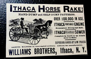 1889 Williams Brothers Ithaca Horse Rake Implement Farm Advertising - New York