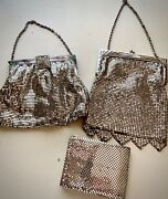 Antique Set Of 3 Silver Mesh Whiting And Davis Purses