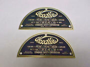 Woodlite Headlight Data Plate Set Of 2 Deep Acid Etched Brass 1920s - 1930s
