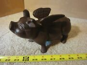 Cast Iron Flying Pig Coin Bank. Winged Faux Vintage Piggy Bank.