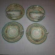 4 Royal Doulton The Pembroke Footed Cups And Saucers Hand Decorated Vintage Mint