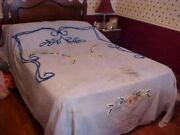 Vintage Chenille Bedspread, Blue With Pink Yellow And Blue Flowers, Cutter As Is