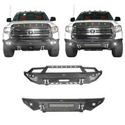 2 Styles Front Bumpers W/ Led Spotlights And D-rings Steel For 14-19 Toyota Tundra