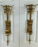 Vintage Pair Of Gothic Medieval Torch Gilded Metal Sconces Lamps