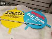 Pair Nos Gulf Oil Gas Tire Signs Metal Tin 1960and039s Petroliana Vintage Auto Collec