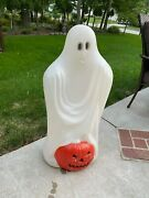 Vintage Sheet Ghost With Pumpkin Blow Mold - Hard To Find