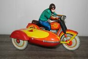 Vintage Wind Up Tin Toy Made In The Soviet Union Sidecar Motorcycle