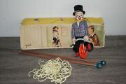 Antique 1950s Fewo Clown Tightrope Walker Tin Litho Toy With Original Box