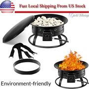 Portable Propane Fire Pit Gas Kit Large Outdoor Yard With Rock Cover Metal Lid