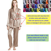 Womens 100 Mulberry Silk Pajama Set Short Robes And Pyjama Pants Lounge Trousers