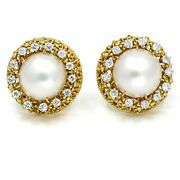 Mabe Pearl Diamond Round Clip-on Earrings In 18k Yellow Gold 1.30 Ct Tw