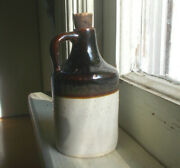 1890s Antique Miniature 3 1/4stoneware Whiskey Jug Applied Handle Cork Stopper