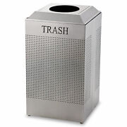 Rubbermaid Commercial Silhouette Waste Receptacle Square Steel 29gal Silver