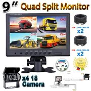 4ch 9 Monitor Bus Truck Tractor Backup Security System 4x Rear View Camera