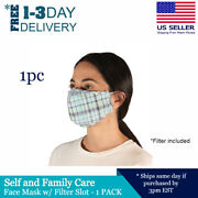 Washable Cotton Face Mask With Pm2.5 Filter Pocket Light Blue Plaid Pattern