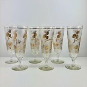 Vintage Libbey Glass Mid Century Frosted Gold Pine Cones Pilsner Glasses Set/6