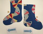 Christmas Stocking Panel Die Cut From Vintage Hand Stitched Cutter Quilts Fabric