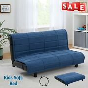 Blue Kids Convertible Couch Sofa Bed Sleeper Small Upholstered Cama Plegable