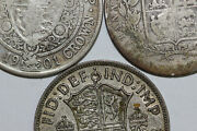 Lot Of Three 1/2 Crowns Ag To Very Fine 0.4204oz Asw Num5066