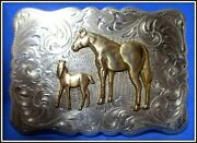 Vintage Mare And Colt Solid Sterling Silver Hand Engraved Belt Buckle Awesome