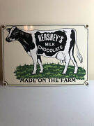 Andnbsp1991 Hersheyand039s Milk Chocolate Made On The Farm Tin Sign 10 3/4 X 7 1/2andnbsp