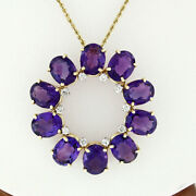 Vintage 14k Gold Oval Amethyst And Diamond Large Circle Wreath Pendant Necklace