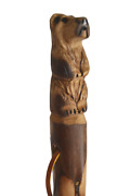 Bear Carved In Dark Wood Walking Stick Hand Carved Staff Made In The Usa