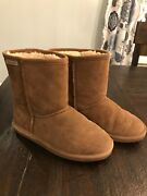 Bearpaw Chestnuts Tan Suede Low Sherpa Lined Boots Shoes 5