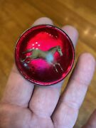Vntg Antique Equestrian Brass W Mirrored Red Glass Dome Horse Bridle Rosette