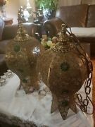 Rare Vintage 1967 Landl Wmc Pair Of Handmade Brass Moroccan Ceiling Lamps20 Tall