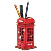 Creative Diy Phone Booth 3d Penholder Building Kits Model Toy Puzzle Wooden Gift