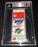 Tony Larussa Signed 1989 World Series Game 4 Ticket Beckett 090 A's Clinch Title