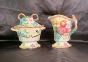 Fitz And Floyd Sugar Bowl With Lid And Spoon Plus Creamer, Flowers And Butterflies