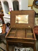 Antique Wood Jewelry Armoire Floor/chest Cabinet Side Accent End Table