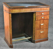 Burled Walnut Embossed Leather Top Drafting Drawing Desk With Drawers And Tray