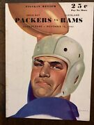 """1944 Cleveland Rams Vs Green Bay Packers Nfl Football Program/""""rams"""" Home Game"""