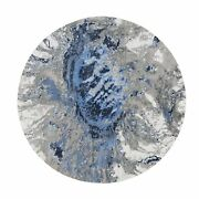 8and039x8and039 Abstract Design Round Wool And Silk Hilow Pile Hand Knotted Rug G58340
