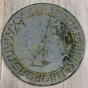 Faded Antique Childrenand039s Tin Abc Alphabet Plate Girl Swing 6 Bryan Or Primitive