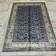 Yilong 4and039x6and039 Handwoven Silk All Over Carpet Blue Indoor Oriental Area Rug Z229a