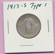 1917-s Type 1 Silver Liberty Standing Quarter 25 Cents Us Coin Gold Toning